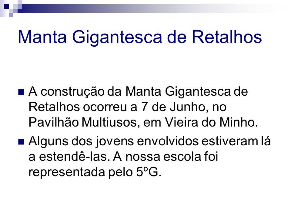 Manta Gigantesca de Retalhos A construção da Manta Gigantesca de Retalhos ocorreu a 7 de Junho, no Pavilhão Multiusos, em Vieira do Minho. Alguns dos