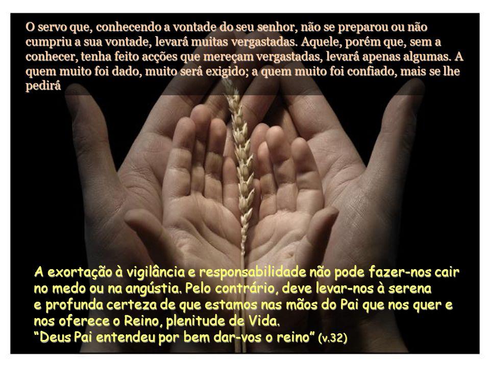 O servo que, conhecendo a vontade do seu senhor, não se preparou ou não cumpriu a sua vontade, levará muitas vergastadas.
