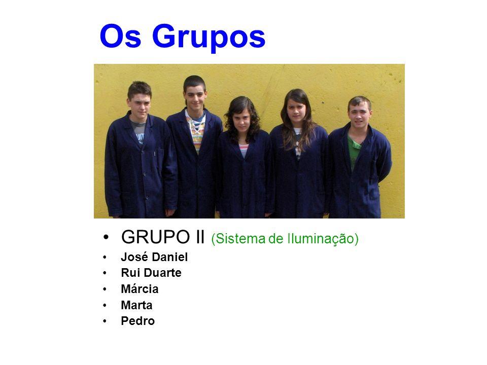 Os Grupos GRUPO II (Sistema de Iluminação) José Daniel Rui Duarte Márcia Marta Pedro