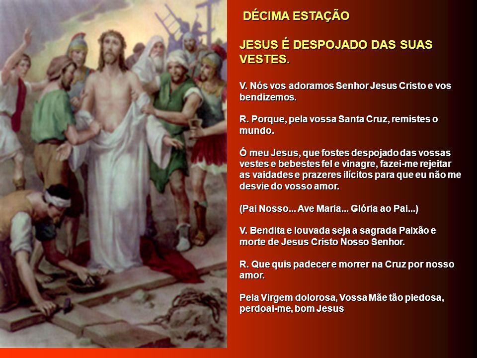 NONA ESTAÇÃO NONA ESTAÇÃO JESUS CAI, PELA TERCEIRA VEZ. JESUS CAI, PELA TERCEIRA VEZ. V. Nós vos adoramos Senhor Jesus Cristo e vos bendizemos. V. Nós