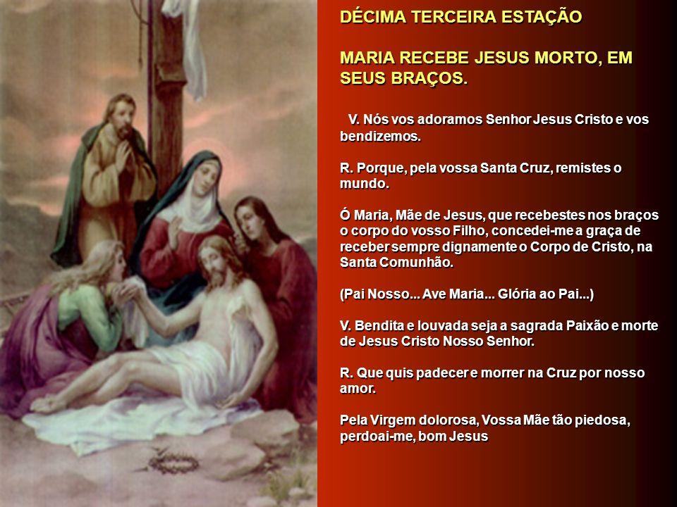 DÉCIMA SEGUNDA ESTAÇÃO DÉCIMA SEGUNDA ESTAÇÃO JESUS MORRE NA CRUZ. JESUS MORRE NA CRUZ. V. Nós vos adoramos Senhor Jesus Cristo e vos bendizemos. V. N