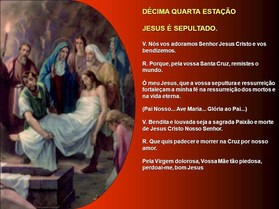 DÉCIMA TERCEIRA ESTAÇÃO DÉCIMA TERCEIRA ESTAÇÃO MARIA RECEBE JESUS MORTO, EM SEUS BRAÇOS. MARIA RECEBE JESUS MORTO, EM SEUS BRAÇOS. V. Nós vos adoramo