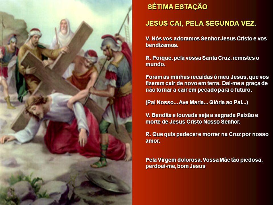 SEXTA ESTAÇÃO SEXTA ESTAÇÃO VERÔNICA ENXUGA A FACE DE JESUS. VERÔNICA ENXUGA A FACE DE JESUS. V. Nós vos adoramos Senhor Jesus Cristo e vos bendizemos
