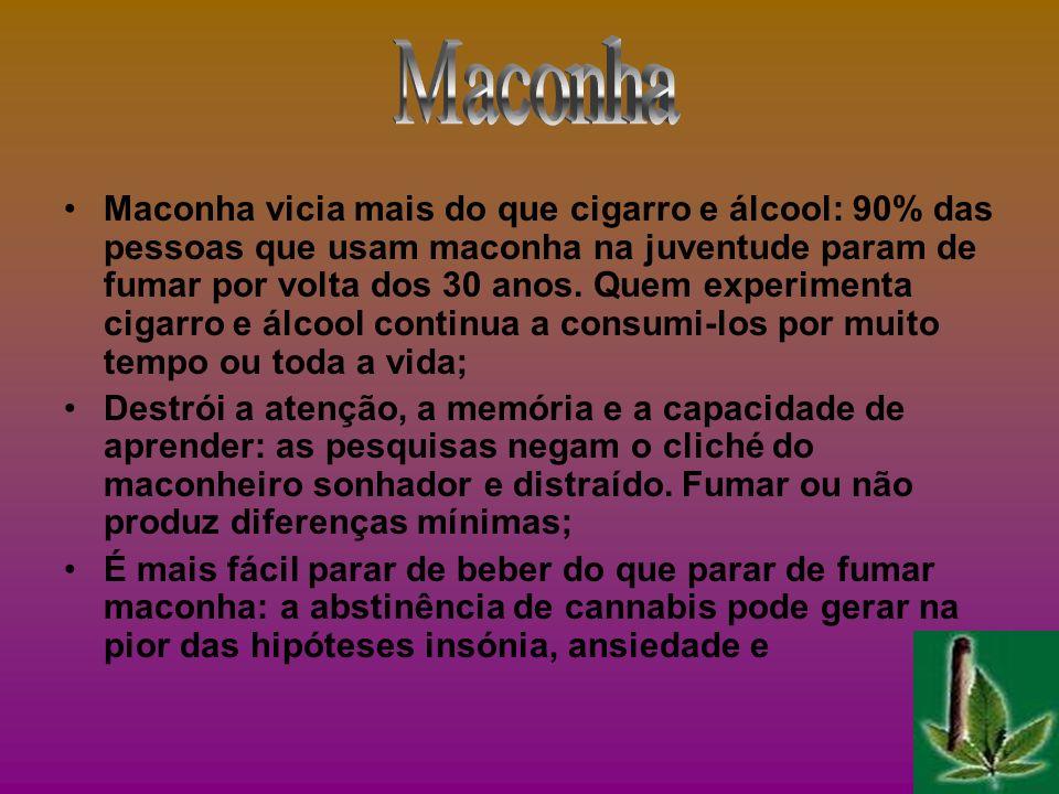 Maconha vicia mais do que cigarro e álcool: 90% das pessoas que usam maconha na juventude param de fumar por volta dos 30 anos. Quem experimenta cigar