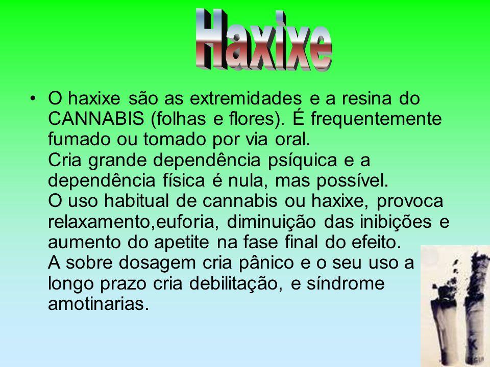 O haxixe são as extremidades e a resina do CANNABIS (folhas e flores). É frequentemente fumado ou tomado por via oral. Cria grande dependência psíquic
