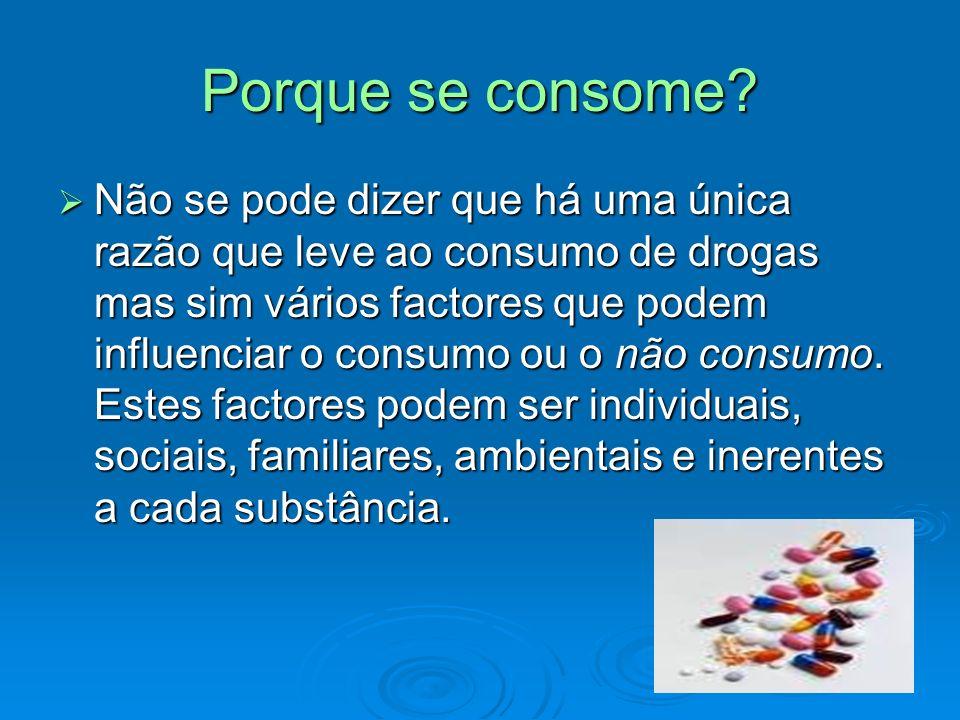 Porque se consome? Não se pode dizer que há uma única razão que leve ao consumo de drogas mas sim vários factores que podem influenciar o consumo ou o