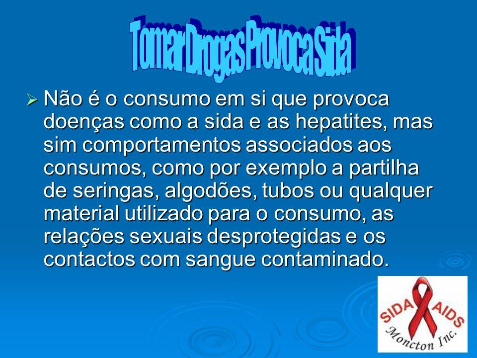 Não é o consumo em si que provoca doenças como a sida e as hepatites, mas sim comportamentos associados aos consumos, como por exemplo a partilha de s