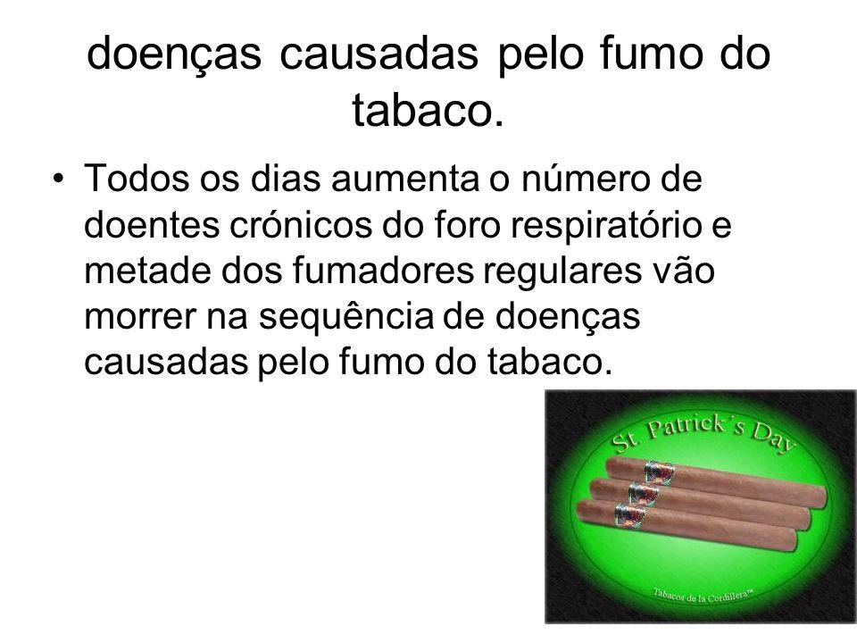 doenças causadas pelo fumo do tabaco.