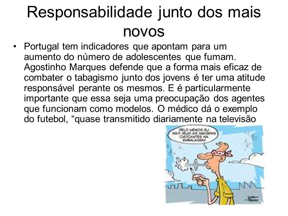 Responsabilidade junto dos mais novos Portugal tem indicadores que apontam para um aumento do número de adolescentes que fumam.
