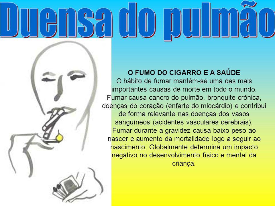 O FUMO DO CIGARRO E A SAÚDE O hábito de fumar mantém-se uma das mais importantes causas de morte em todo o mundo. Fumar causa cancro do pulmão, bronqu