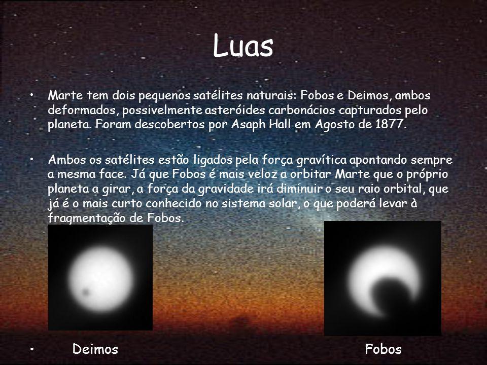 Luas Marte tem dois pequenos satélites naturais: Fobos e Deimos, ambos deformados, possivelmente asteróides carbonácios capturados pelo planeta. Foram