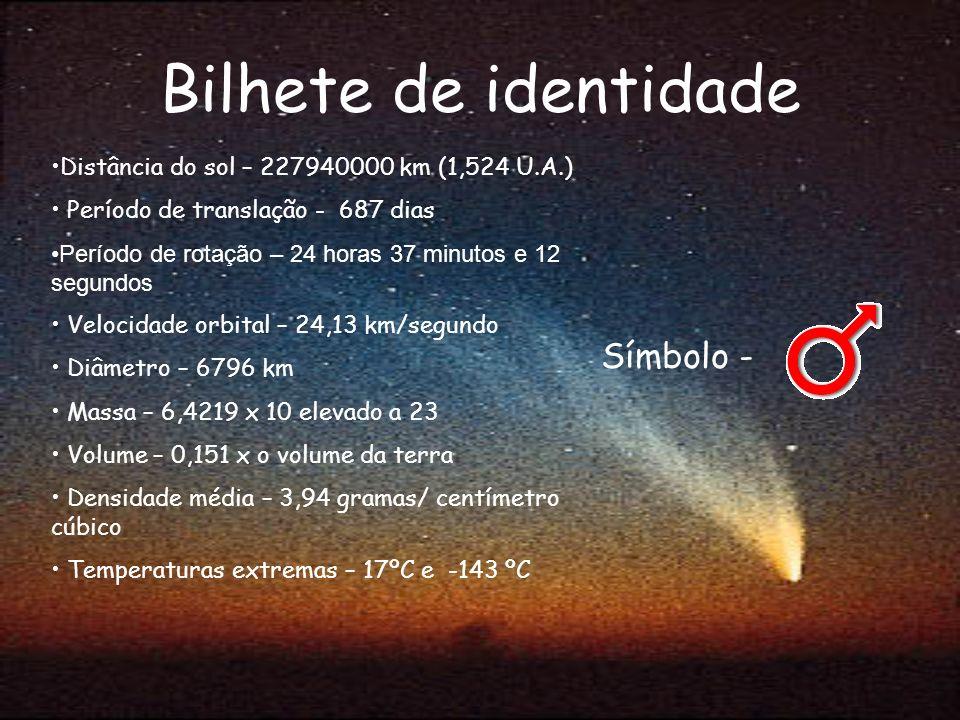 Bilhete de identidade Símbolo - Distância do sol – 227940000 km (1,524 U.A.) Período de translação - 687 dias Período de rotação – 24 horas 37 minutos