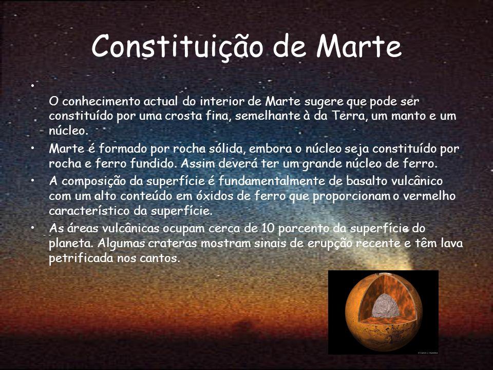 Constituição de Marte O conhecimento actual do interior de Marte sugere que pode ser constituído por uma crosta fina, semelhante à da Terra, um manto