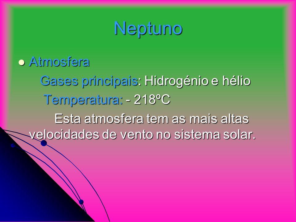 Neptuno Atmosfera Atmosfera Gases principais: Hidrogénio e hélio Gases principais: Hidrogénio e hélio Temperatura: - 218ºC Temperatura: - 218ºC Esta atmosfera tem as mais altas velocidades de vento no sistema solar.