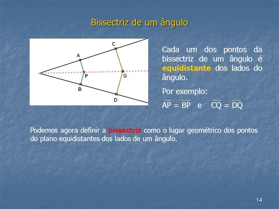 14 Bissectriz de um ângulo Cada um dos pontos da bissectriz de um ângulo é equidistante dos lados do ângulo. Por exemplo: AP = BP e CQ = DQ Podemos ag