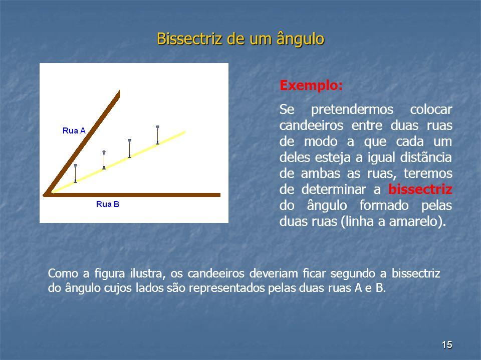 15 Bissectriz de um ângulo Exemplo: Se pretendermos colocar candeeiros entre duas ruas de modo a que cada um deles esteja a igual distãncia de ambas a
