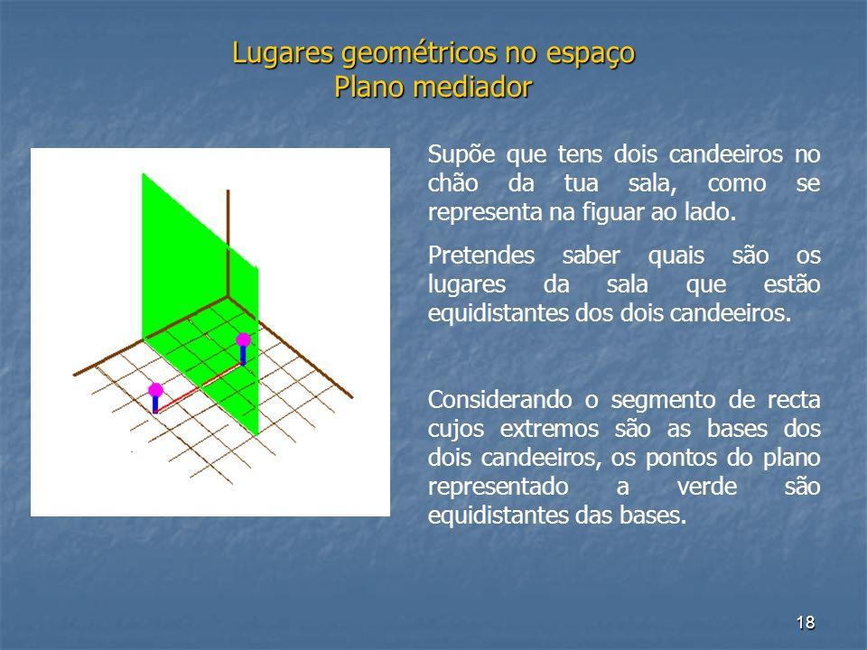 18 Lugares geométricos no espaço Plano mediador Supõe que tens dois candeeiros no chão da tua sala, como se representa na figuar ao lado. Pretendes sa