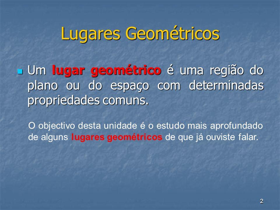 2 Lugares Geométricos Um lugar geométrico é uma região do plano ou do espaço com determinadas propriedades comuns. Um lugar geométrico é uma região do