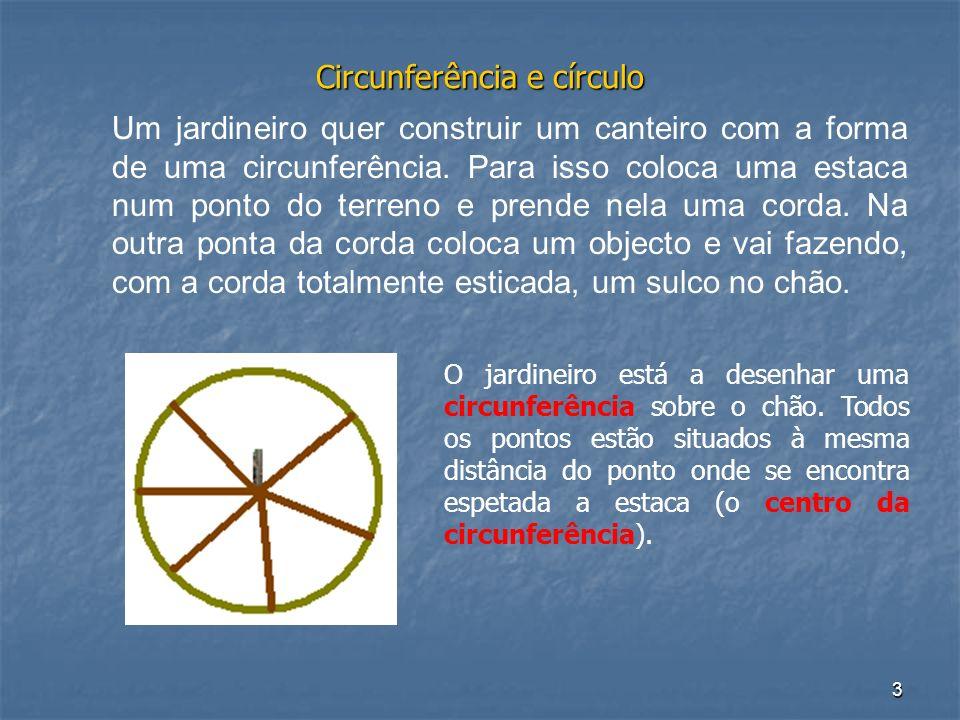 4 Circunferência e círculo Uma circunferência é o lugar geométrico dos pontos do plano que são equidistantes de um ponto fixo chamado centro da circunferência.