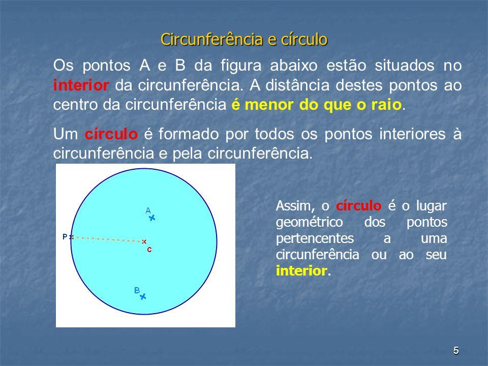 5 Circunferência e círculo Os pontos A e B da figura abaixo estão situados no interior da circunferência. A distância destes pontos ao centro da circu