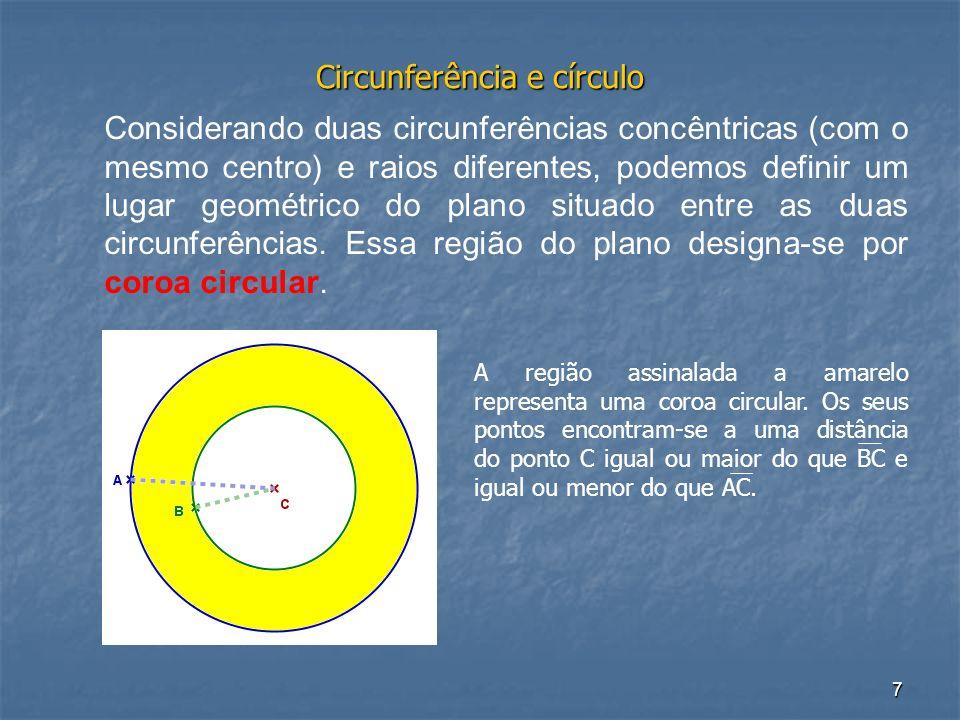 7 Circunferência e círculo Considerando duas circunferências concêntricas (com o mesmo centro) e raios diferentes, podemos definir um lugar geométrico