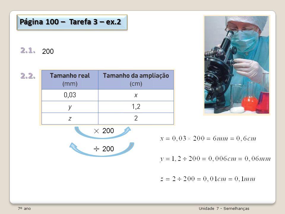 7º ano Unidade 7 - Semelhanças Página 100 – Tarefa 3 – ex.2 2.1.2.2. 200