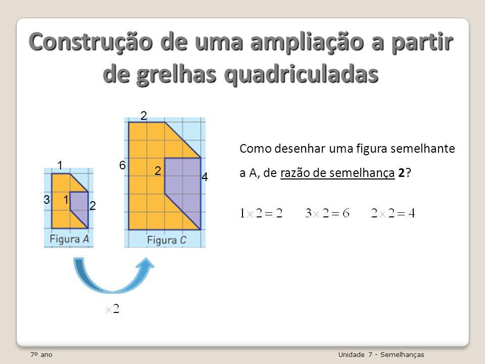 7º ano Unidade 7 - Semelhanças Observa os seguintes rectângulos semelhantes: A razão de semelhança do 1º para o 2º rectângulo é 2 ( 4 2 = 2 ).
