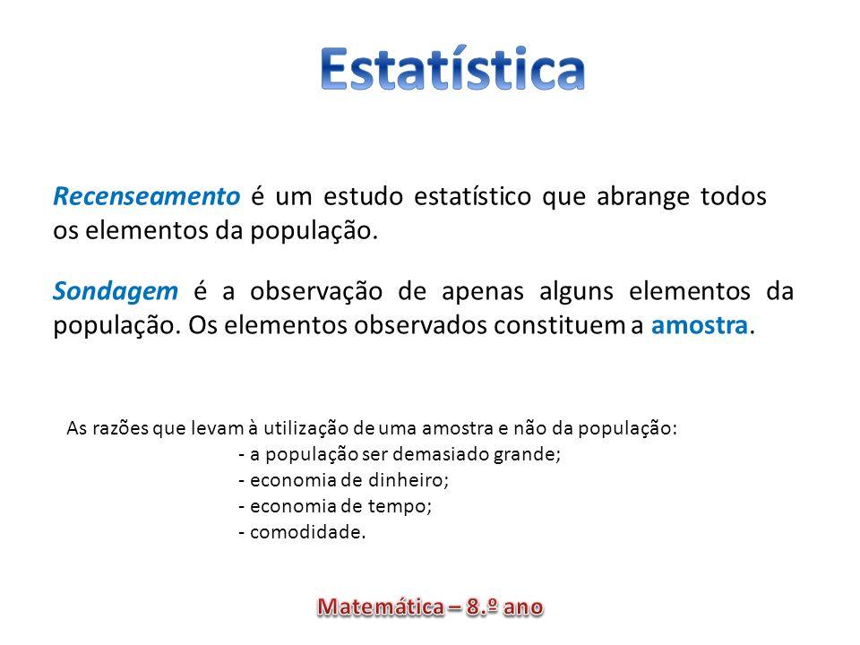 Recenseamento é um estudo estatístico que abrange todos os elementos da população. Sondagem é a observação de apenas alguns elementos da população. Os