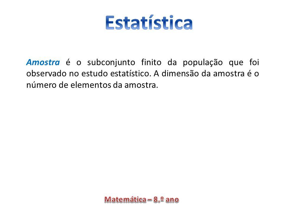 Amostra é o subconjunto finito da população que foi observado no estudo estatístico. A dimensão da amostra é o número de elementos da amostra.