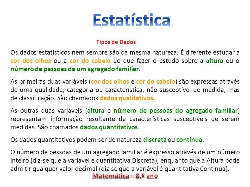 Os dados estatísticos nem sempre são da mesma natureza. É diferente estudar a cor dos olhos ou a cor do cabelo do que fazer o estudo sobre a altura ou