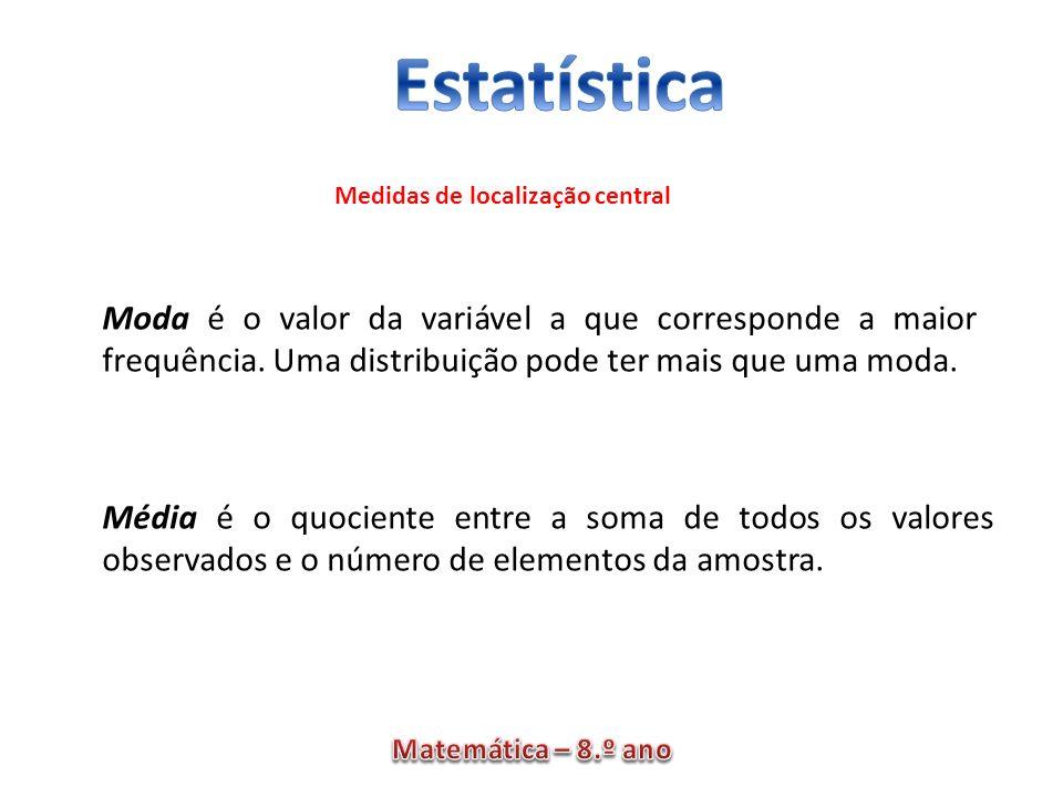 Moda é o valor da variável a que corresponde a maior frequência. Uma distribuição pode ter mais que uma moda. Média é o quociente entre a soma de todo