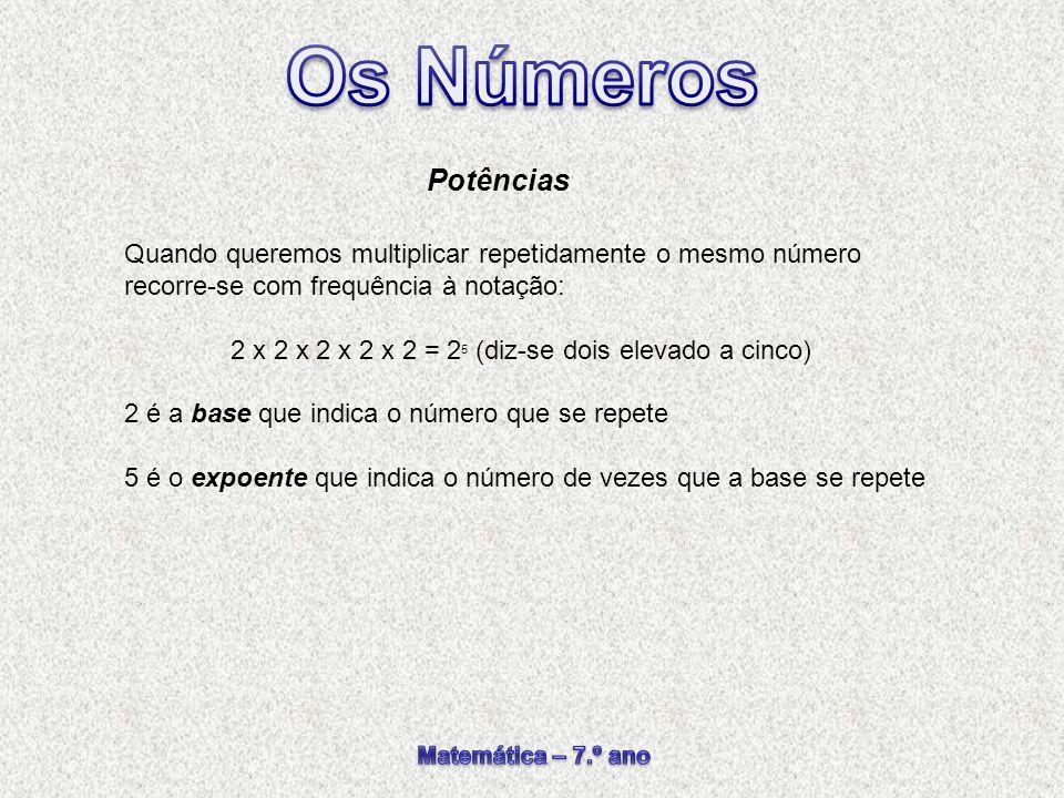 Quando queremos multiplicar repetidamente o mesmo número recorre-se com frequência à notação: 2 x 2 x 2 x 2 x 2 = 2 5 (diz-se dois elevado a cinco) 2