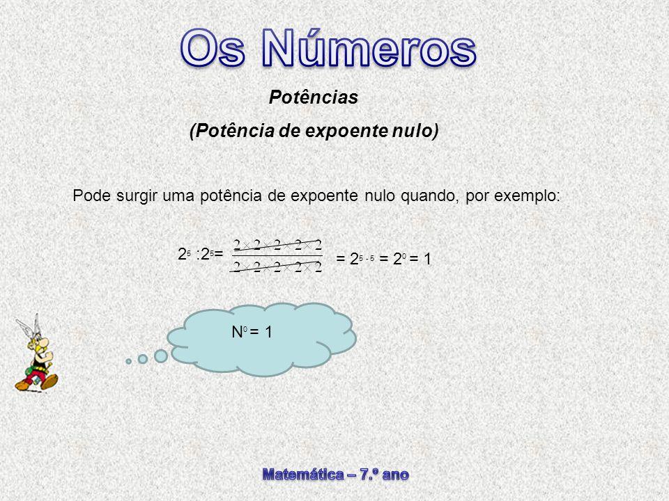 Pode surgir uma potência de expoente nulo quando, por exemplo: Potências (Potência de expoente nulo) 2 5 :2 5 = N 0 = 1 = 2 5 - 5 = 2 0 = 1