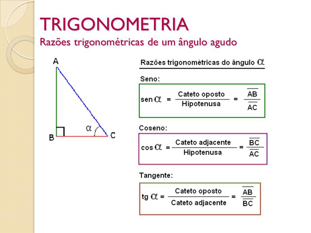 TRIGONOMETRIA Razões trigonométricas de um ângulo agudo