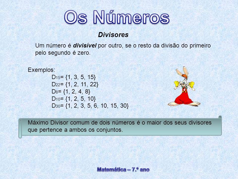 Divisores Um número é divisível por outro, se o resto da divisão do primeiro pelo segundo é zero. Exemplos: D 15 = {1, 3, 5, 15} D 22 = {1, 2, 11, 22}