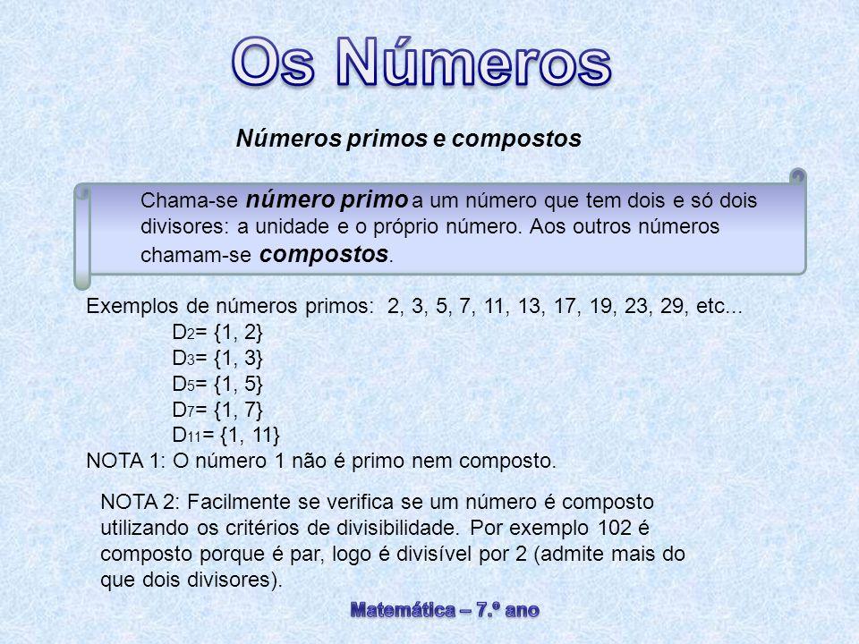 Números primos e compostos Chama-se número primo a um número que tem dois e só dois divisores: a unidade e o próprio número. Aos outros números chamam