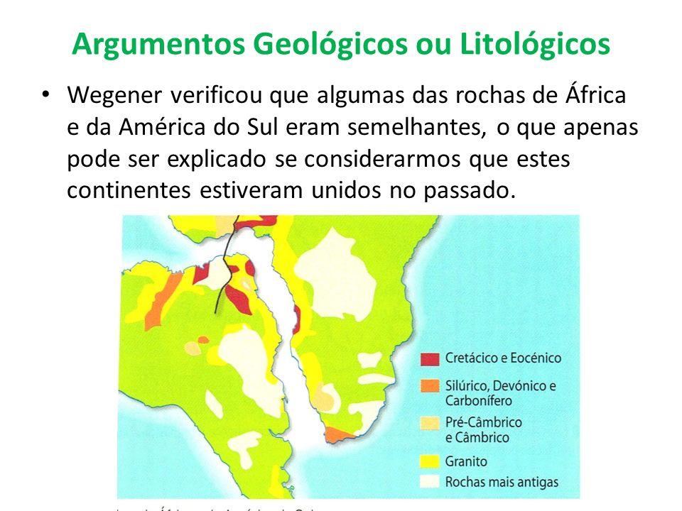 Argumentos Geológicos ou Litológicos Wegener verificou que algumas das rochas de África e da América do Sul eram semelhantes, o que apenas pode ser ex