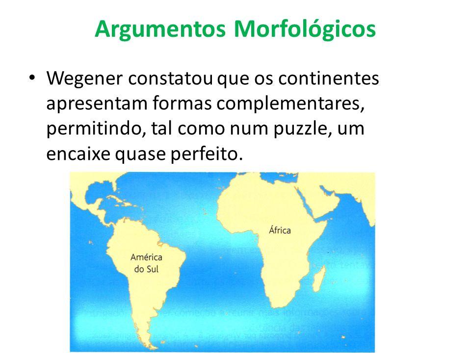 Argumentos Morfológicos Wegener constatou que os continentes apresentam formas complementares, permitindo, tal como num puzzle, um encaixe quase perfe