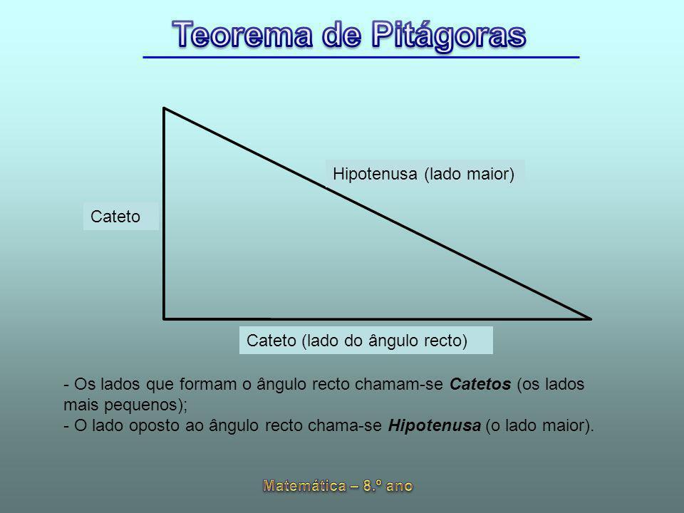 Hipotenusa (lado maior) Cateto Cateto (lado do ângulo recto) - Os lados que formam o ângulo recto chamam-se Catetos (os lados mais pequenos); - O lado