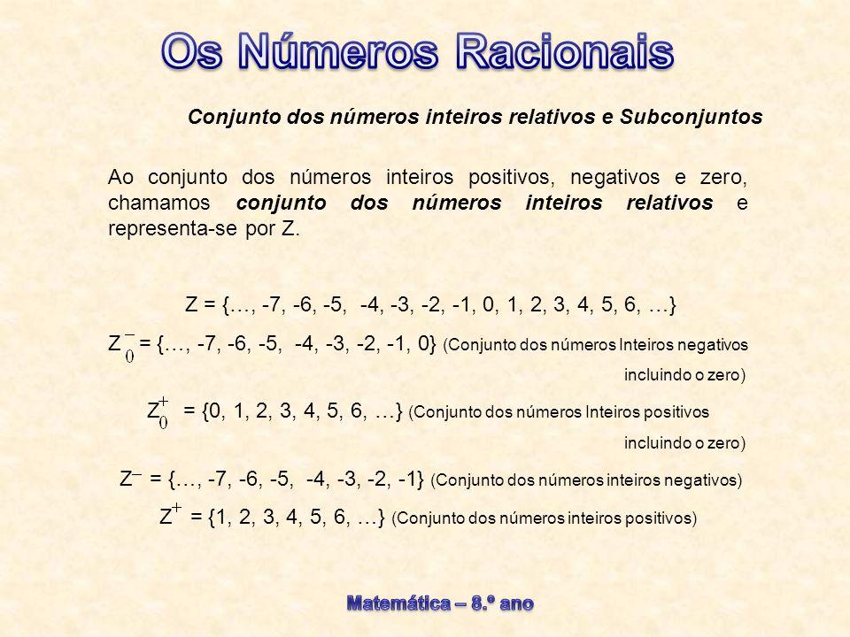 Ao conjunto dos números racionais positivos, negativos e zero, chamamos conjunto dos números racionais relativos e representa-se por Q.