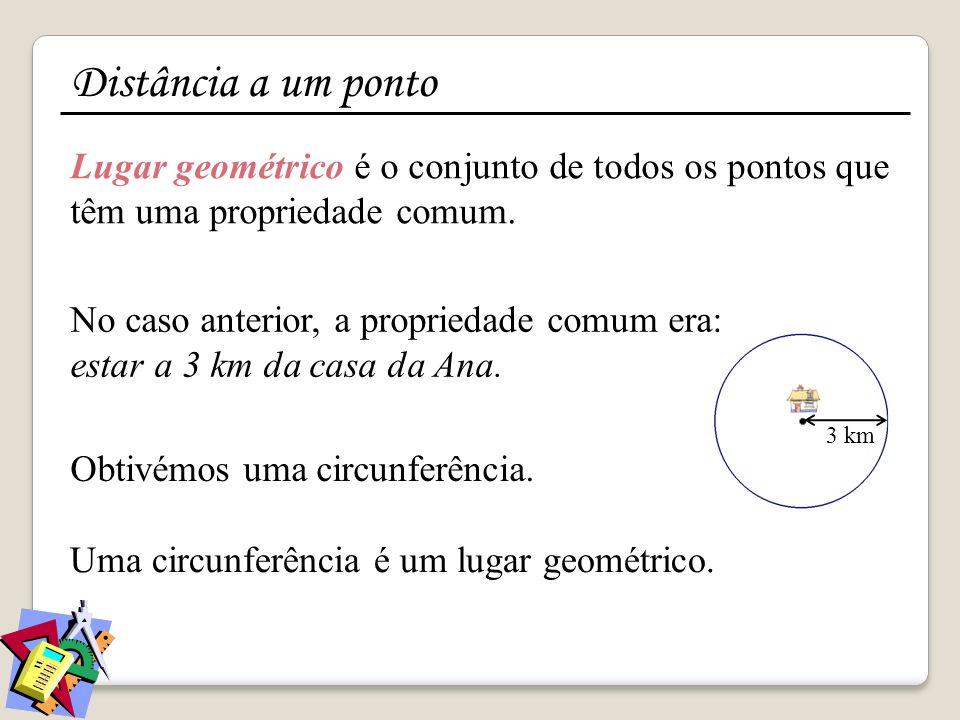 Lugar geométrico é o conjunto de todos os pontos que têm uma propriedade comum. No caso anterior, a propriedade comum era: estar a 3 km da casa da Ana