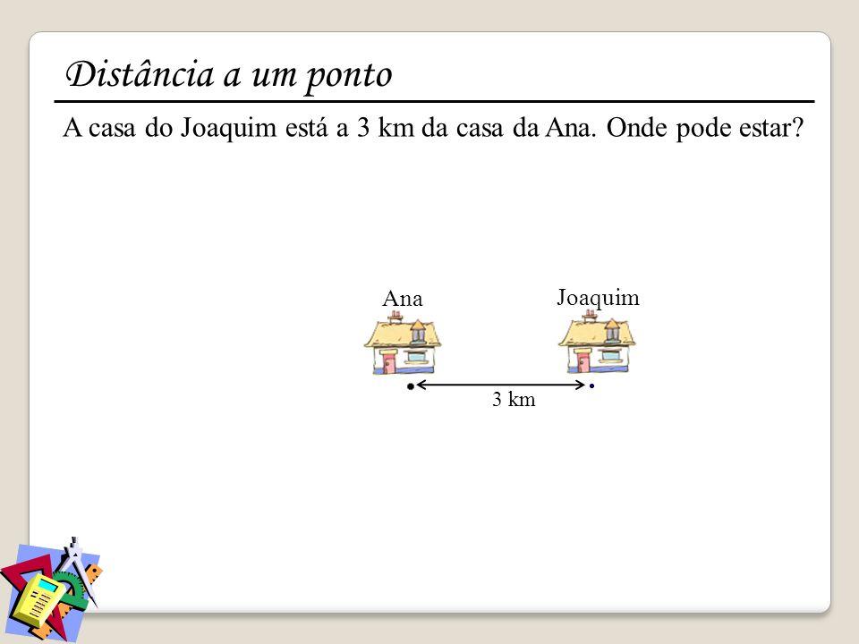 Joaquim 3 km A casa do Joaquim está a 3 km da casa da Ana. Onde pode estar? Ana Distância a um ponto