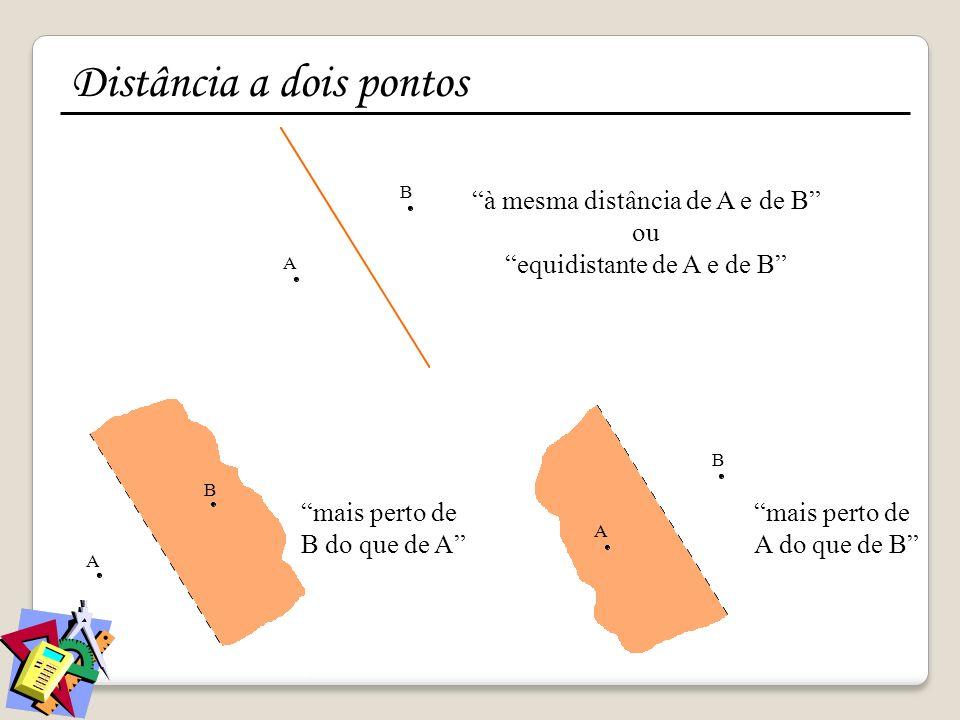 A B A B à mesma distância de A e de B ou equidistante de A e de B mais perto de B do que de A mais perto de A do que de B A B