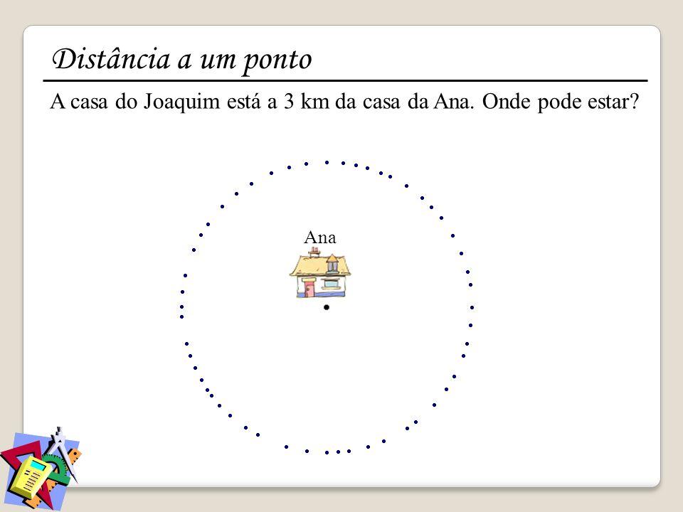 A casa do Joaquim está a 3 km da casa da Ana. Onde pode estar? Ana Distância a um ponto