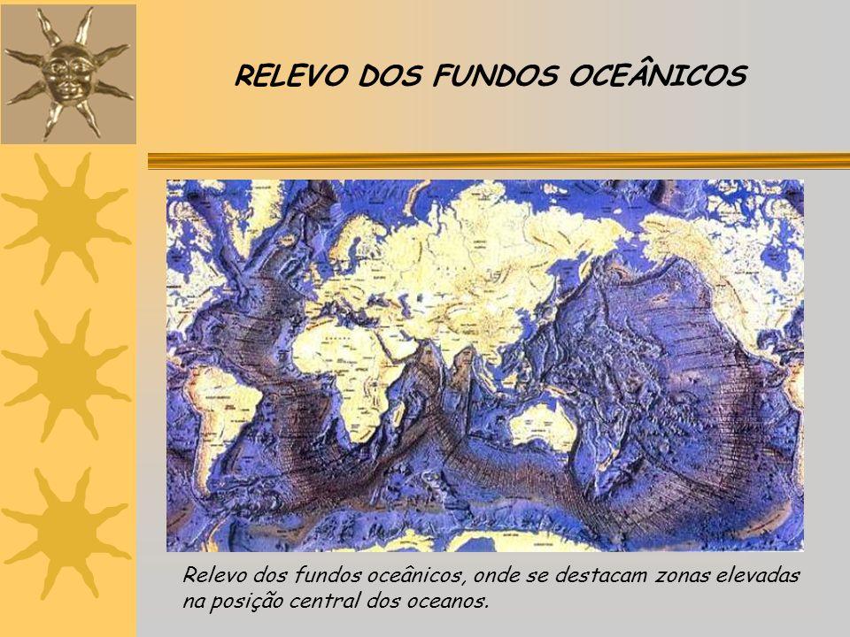 RELEVO DOS FUNDOS OCEÂNICOS Relevo dos fundos oceânicos, onde se destacam zonas elevadas na posição central dos oceanos.