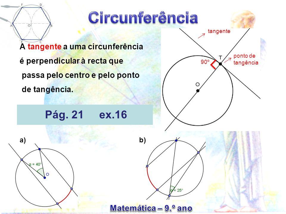 A tangente a uma circunferência é perpendicular à recta que passa pelo centro e pelo ponto de tangência. tangente 90º Pág. 21 ex.16 a) b) ponto de tan