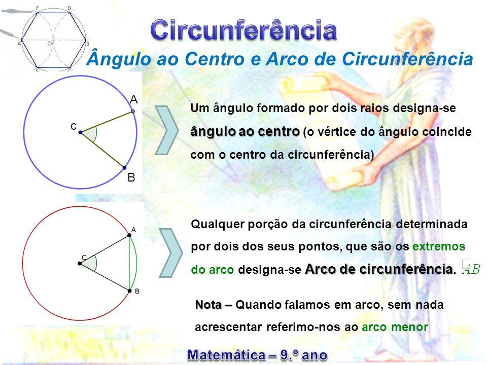 Ao ângulo ao centro ACB corresponde a corda [AB] e o arco [AB] e vice-versa.