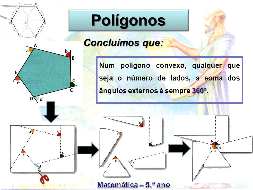 PolígonosPolígonos Num polígono convexo, qualquer que seja o número de lados, a soma dos ângulos externos é sempre 3 33 360º.