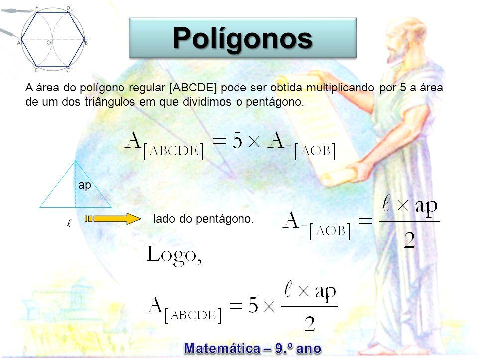 A área do polígono regular [ABCDE] pode ser obtida multiplicando por 5 a área de um dos triângulos em que dividimos o pentágono. ap lado do pentágono.