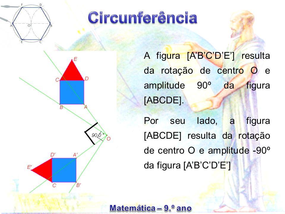 A figura [ABCDE] resulta da rotação de centro O e amplitude 90º da figura [ABCDE]. Por seu lado, a figura [ABCDE] resulta da rotação de centro O e amp